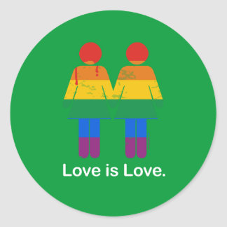 LOVE IS LOVE LESBIAN COUPLE -.png Classic Round Sticker