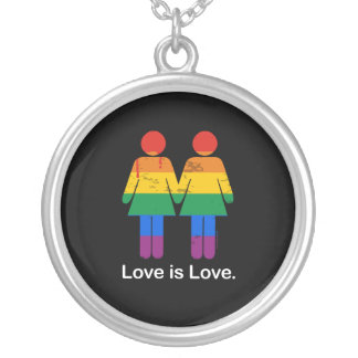 LOVE IS LOVE LESBIAN COUPLE -.png Round Pendant Necklace