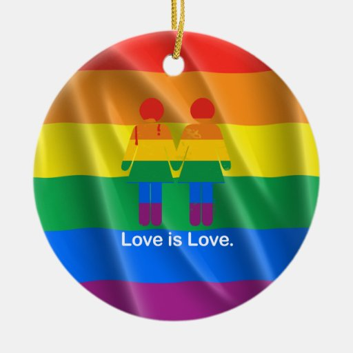 LOVE IS LOVE LESBIAN COUPLE -.png Christmas Ornament