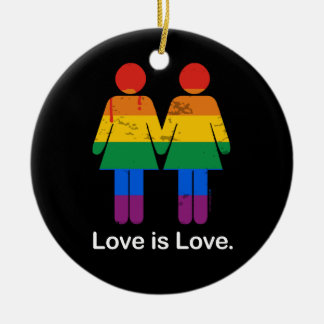 LOVE IS LOVE LESBIAN COUPLE -.png Christmas Tree Ornaments