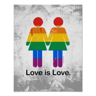LOVE IS LOVE LESBIAN COUPLE POSTER