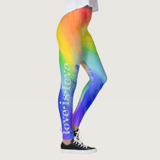 Love is Love LGBT Typography Watercolor Rainbow Leggings