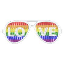 Love is Love - Love Equality Rainbow Flag Aviator Sunglasses