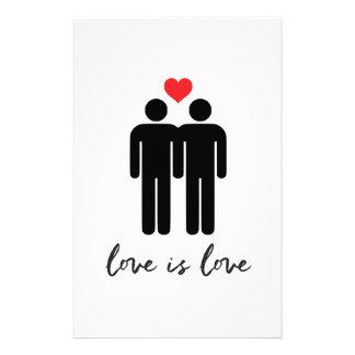 Love is Love (Men) + Heart Stationery