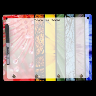 Love is Love Nature Rainbow LGBT Pride Symbol Dry Erase Board With Keychain Holder