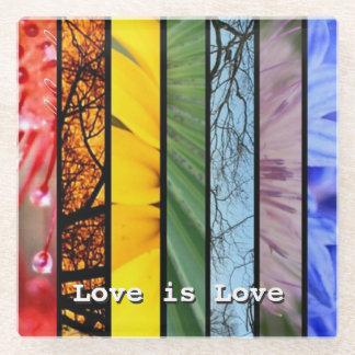 Love is Love Nature Rainbow LGBT Pride Symbol Glass Coaster
