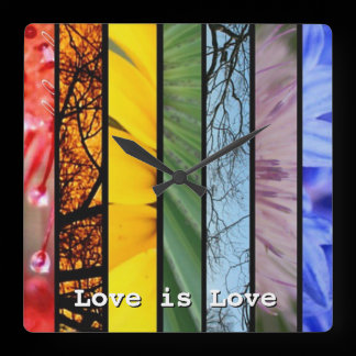 Love is Love Nature Rainbow LGBT Pride Symbol Square Wall Clock