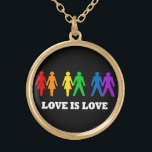 """Love Is Love Necklace<br><div class=""""desc"""">Love is Love necklace with rainbow colored people paired up with two women,  a man and woman,  and two men.  White text on a black background.  Beautiful gay pride design to promote equality.</div>"""