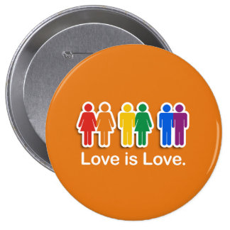 LOVE IS LOVE ORANGE PIN