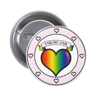 Love is Love Pink and Rainbow Pinback Button