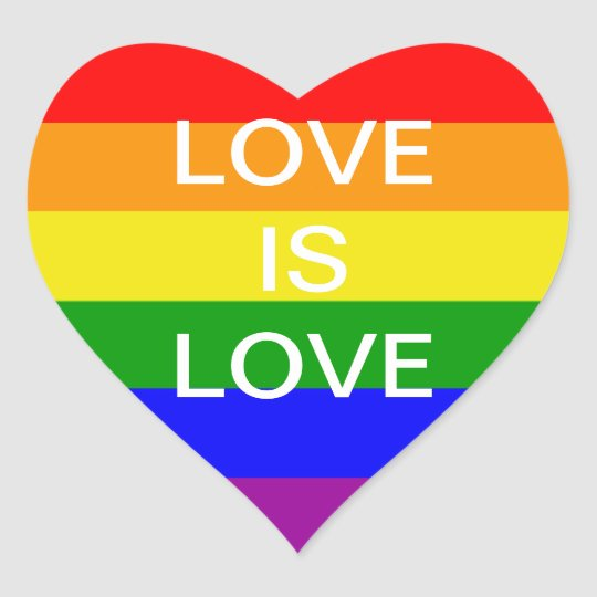 Love is love rainbow flag heart sticker
