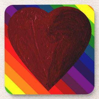 LOVE IS LOVE RAINBOW HEART ~~ COASTER