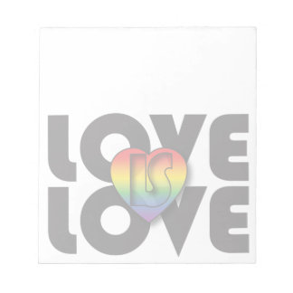"""Love Is Love"" Rainbow Heart Notepad"