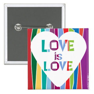 Love is Love Rainbow Heart Pinback Button