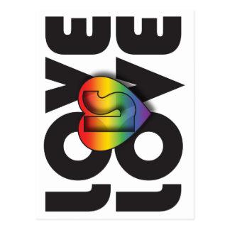 """Love Is Love"" Rainbow Heart Postcard"
