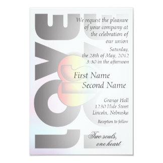 """Love Is Love"" Rainbow Heart Wedding Invitation 2"