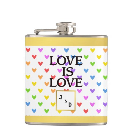 Love is Love Rainbow Hearts Gold Foil Monogram Flask