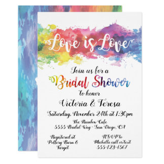 Love is Love Rainbow Watercolor Bridal Shower Card