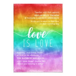 Love is Love Rainbow Watercolor Gay Wedding Invitation
