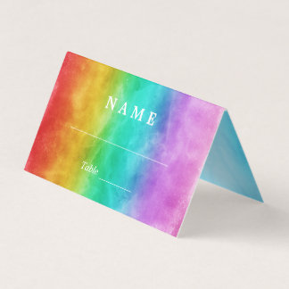 Love is Love Rainbow Watercolor Gay Wedding Place Card