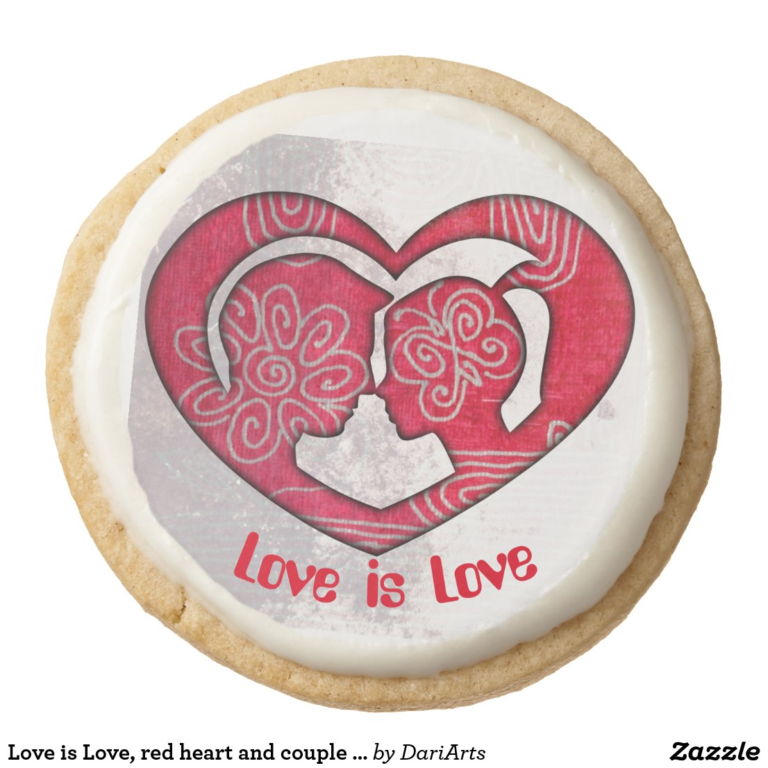 Love is Love, red heart and couple in love cookies