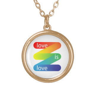 Love is love round pendant necklace