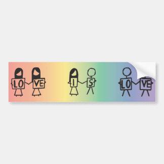 """""""Love is Love"""" Stick Figure Bumper Sticker Car Bumper Sticker"""
