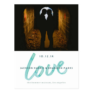 Love is Love Watercolor Gay Wedding Announcements Postcard