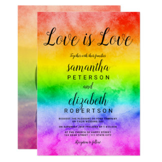 Love is love watercolor photo lesbian wedding invitation