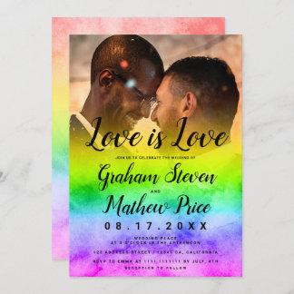 Love is love watercolor raimbow photo gay wedding invitation