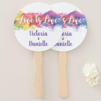 Love is Love watercolor Wedding Hand Fans