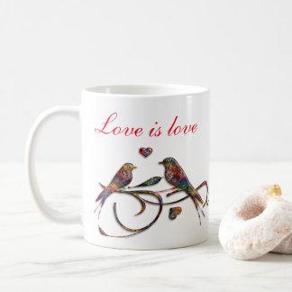 Love is love (with lovebirds) coffee mug