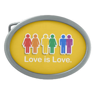 LOVE IS LOVE YELLOW.png Oval Belt Buckles