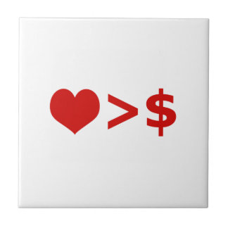 Love is more important  than Money Concept Ceramic Tile