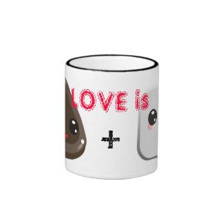 Love is Mug w/ cute marshmallow and chocolate kiss