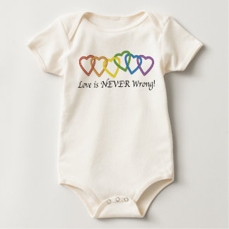 Love is Never Wrong String of Hearts Baby Bodysuit
