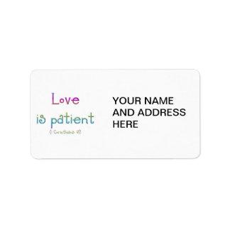 Love is patient (1 Corinthians: 13) Label