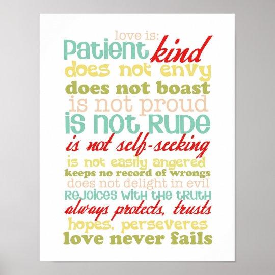 Love Is Patient 1 Corinthians 13 Poster Zazzle Com