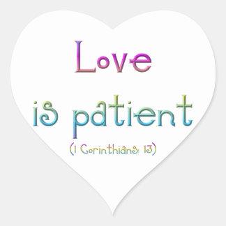 Love is patient (1 Corinthians: 13) Heart Sticker