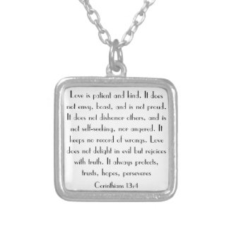 Love is patient and kind bible verse necklace