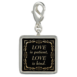 Love is Patient and Kind Gold Christian Photo Charm