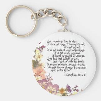 Love is patient basic round button keychain