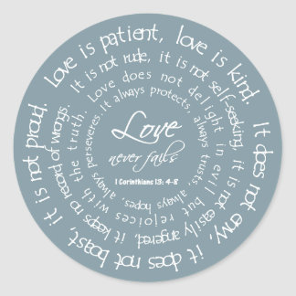 Love is Patient Blue Christian Wedding Stickers