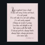 """Love is Patient Canvas Print<br><div class=""""desc"""">Love is patient on pale pink</div>"""