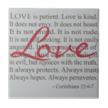 """&quot;Love is patient&quot; Ceramic Tile<br><div class=""""desc"""">A beautiful display of LOVE for your home...  This ceramic tile will serve as a gentle reminder of how the Scripture defines Love.</div>"""
