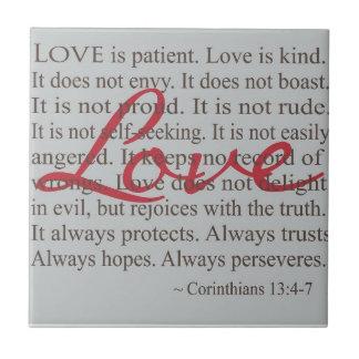 """""""Love is patient"""" Ceramic Tile"""