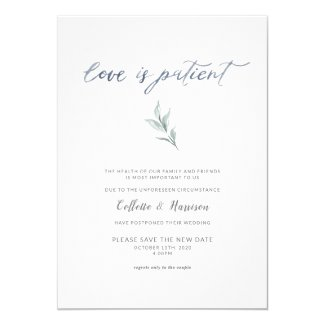 Love is Patient Change the Date Watercolor Vine Invitation