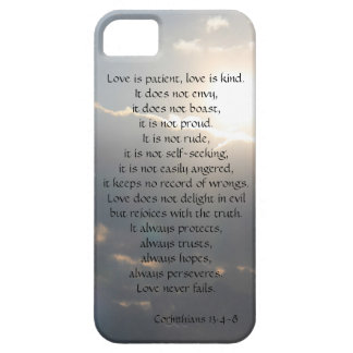 Love is Patient, Corinthians verse, clouds iPhone iPhone SE/5/5s Case