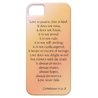 Love is Patient, Corinthians verse, peach iPhone iPhone SE/5/5s Case