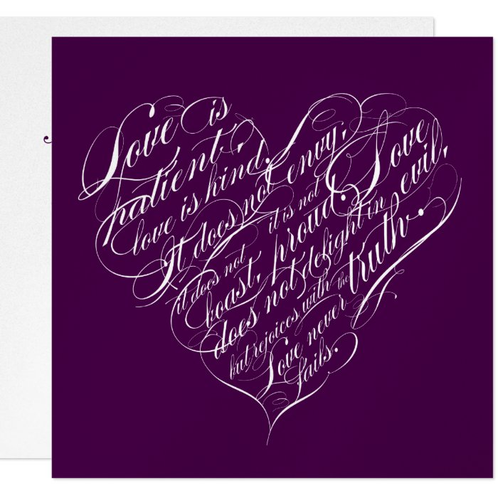 Love is patient.. eggplant & silver script heart card